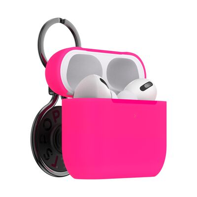 PopGrip AirPods Pro Holder Neon Pink with Premium Gunmetal PopChain