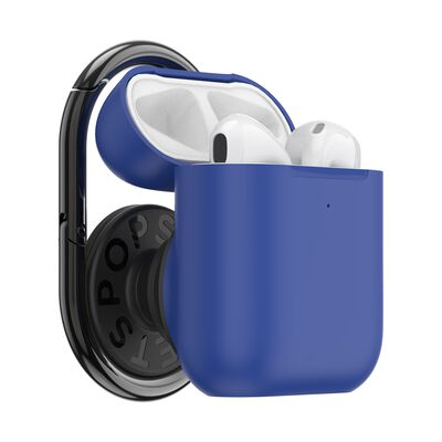 PopGrip AirPods Holder Cobalt Blue with PopChain 2 Gunmetal