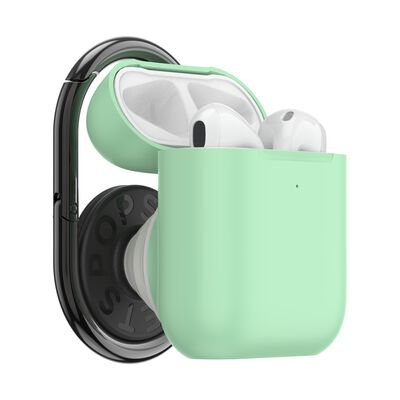 PopGrip AirPods Holder Neo Mint with PopChain 2 Gunmetal