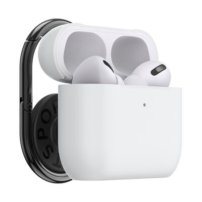 PopGrip AirPods Pro Holder White with PopChain 2 Gunmetal