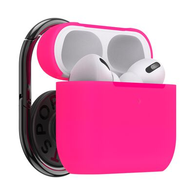PopGrip AirPods Pro Holder Neon Pink with PopChain 2 Gunmetal
