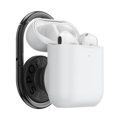 PopGrip AirPods Holder White with PopChain 2 Gunmetal
