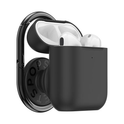 Popgrip AirPods Holder Black with PopChain 2 Gunmetal
